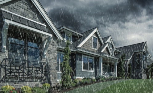 House in thunderstorm