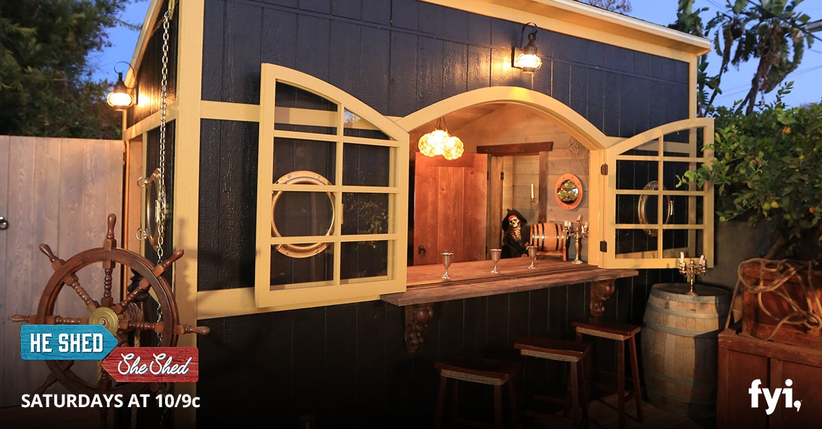 """Man Caves Made Out Of Sheds : He shed she episode """"baller backyard bars"""