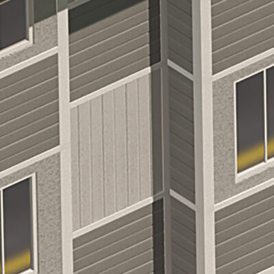 Computer rendering of LP SmartSide used on a building