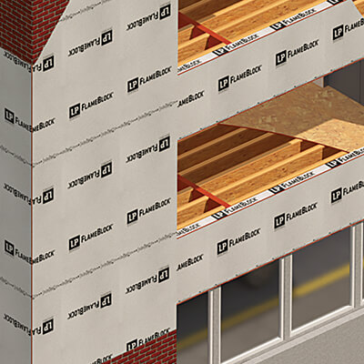 Computer rendering of LP FlameBlock used on a building