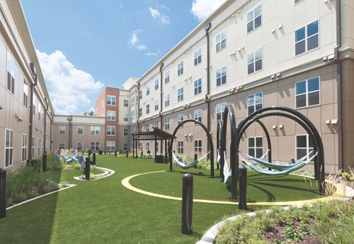 LP FlameBlock Fire-Rated Sheathing Landmark College Park - Interior Garden Space